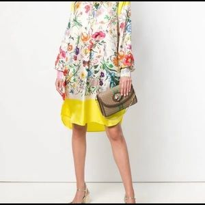 Auth Gucci silk oversized shirt dress with button